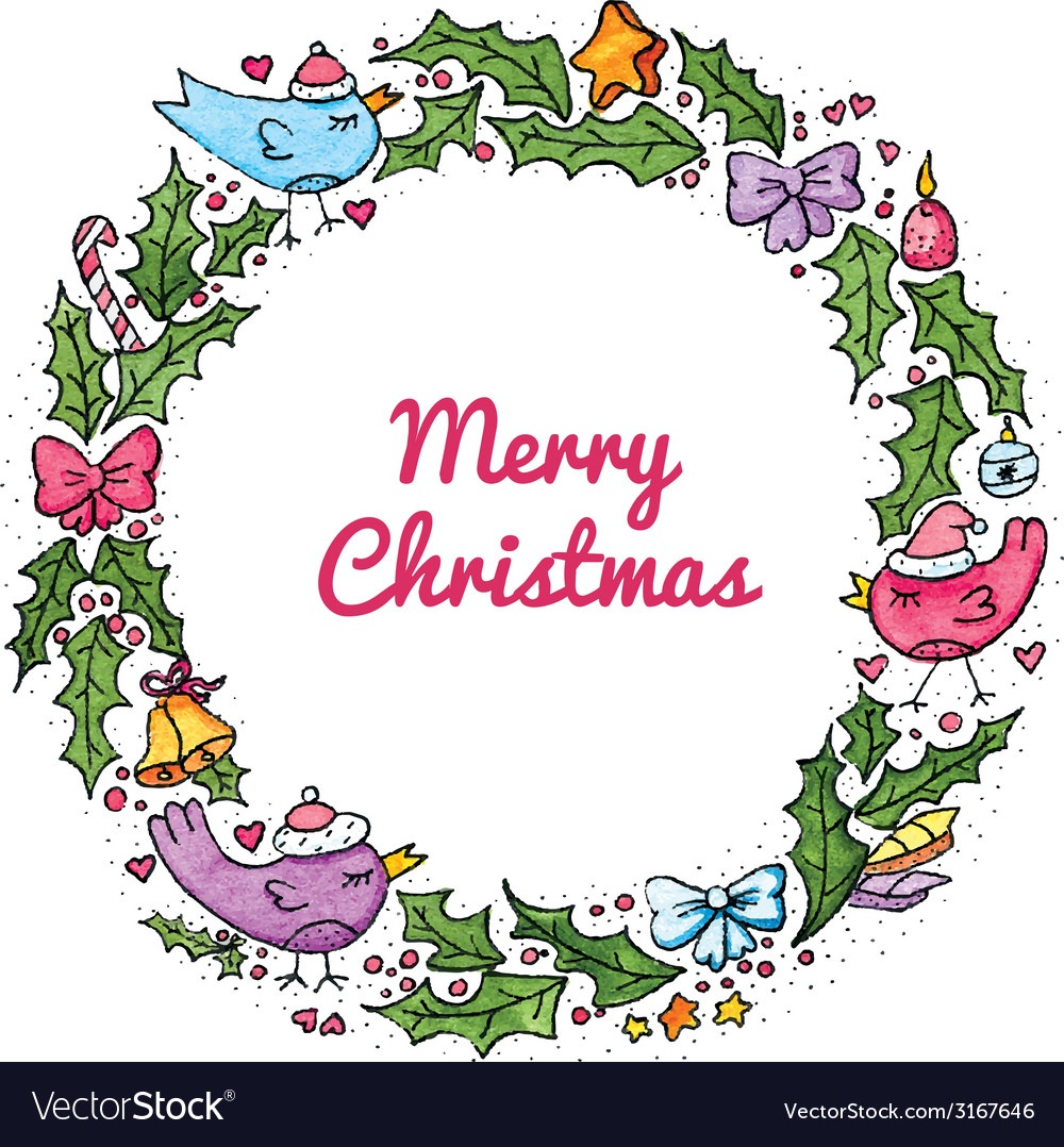 Watercolor christmas wreath vector | Price: 1 Credit (USD $1)