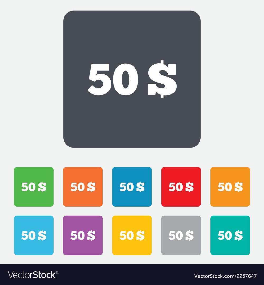 50 dollars sign icon usd currency symbol vector | Price: 1 Credit (USD $1)