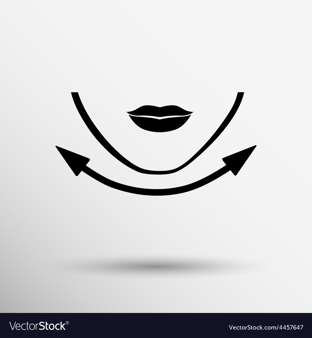 Beautiful woman face chin oval align icon vector | Price: 1 Credit (USD $1)