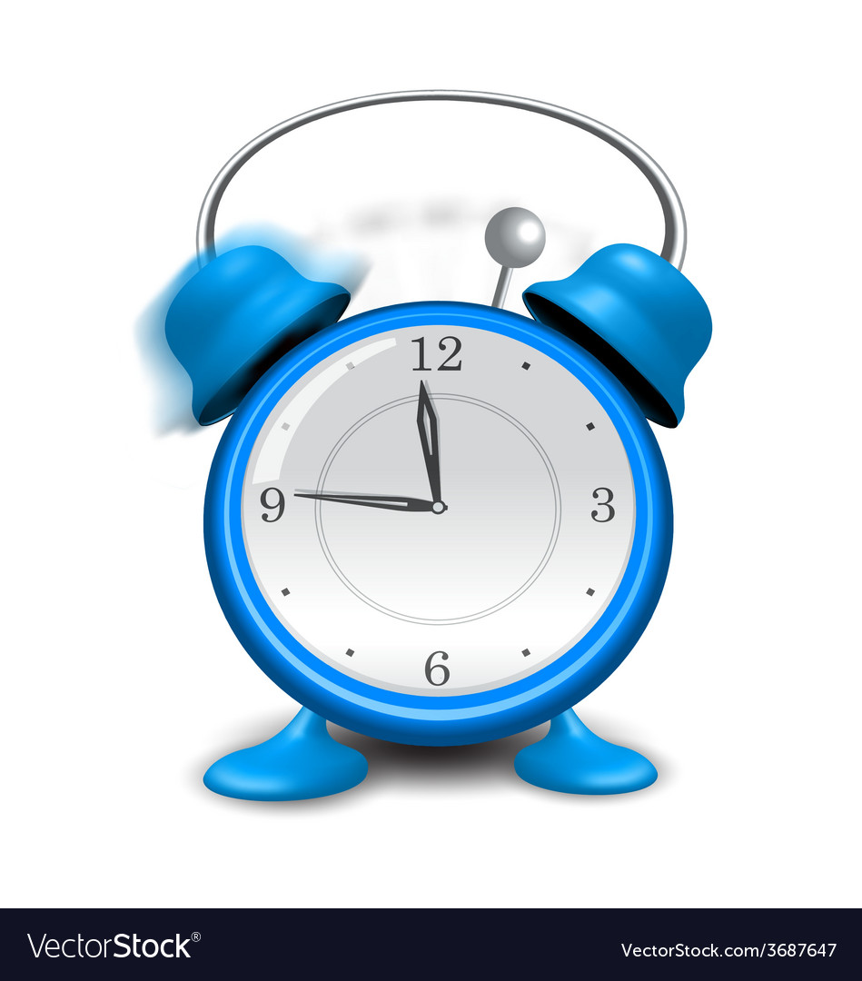 Blue alarm clock close up isolated on white vector | Price: 1 Credit (USD $1)