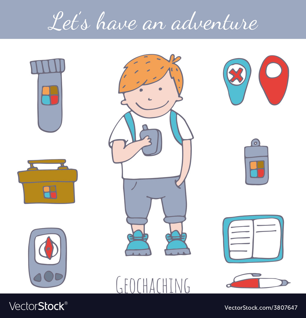 Doodle geocaching set vector | Price: 1 Credit (USD $1)