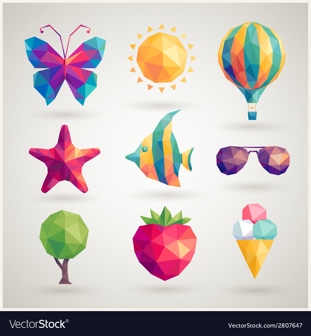 Summer hipster icons vector | Price: 1 Credit (USD $1)