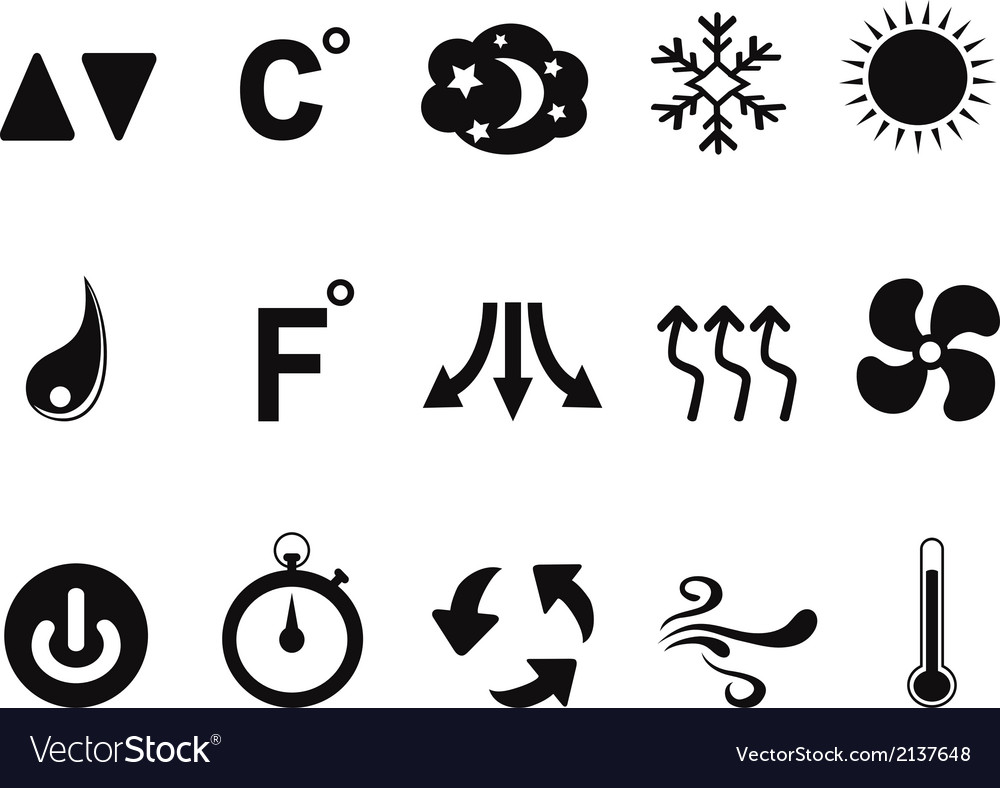 Air conditioner icons set vector | Price: 1 Credit (USD $1)