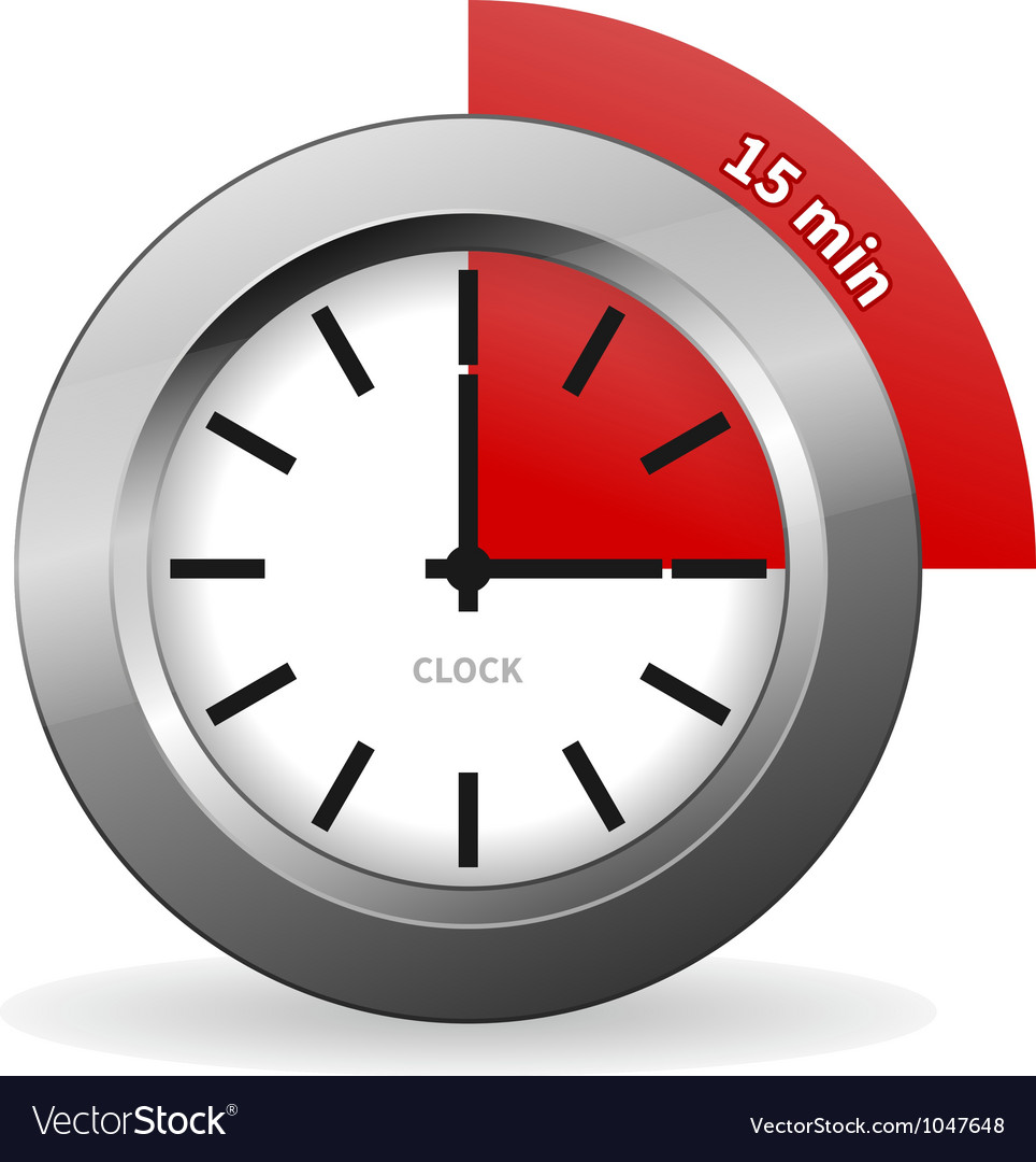 Clock 15 minutes to go vector | Price: 1 Credit (USD $1)