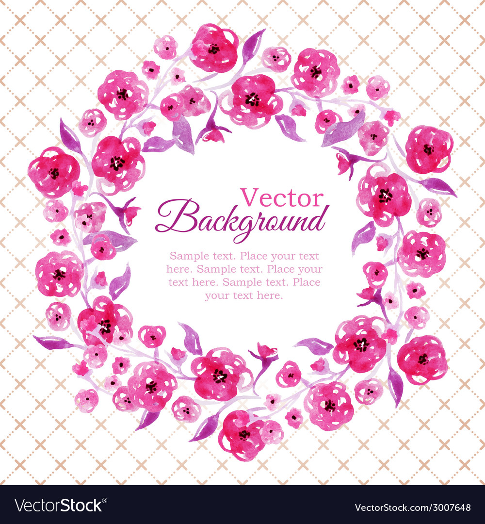Floral watercolor wreath with pink flowers vector