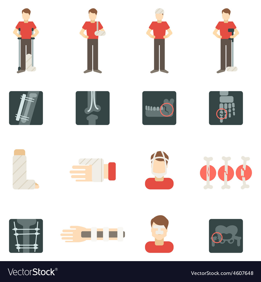 Fracture bone flat icons set vector | Price: 1 Credit (USD $1)