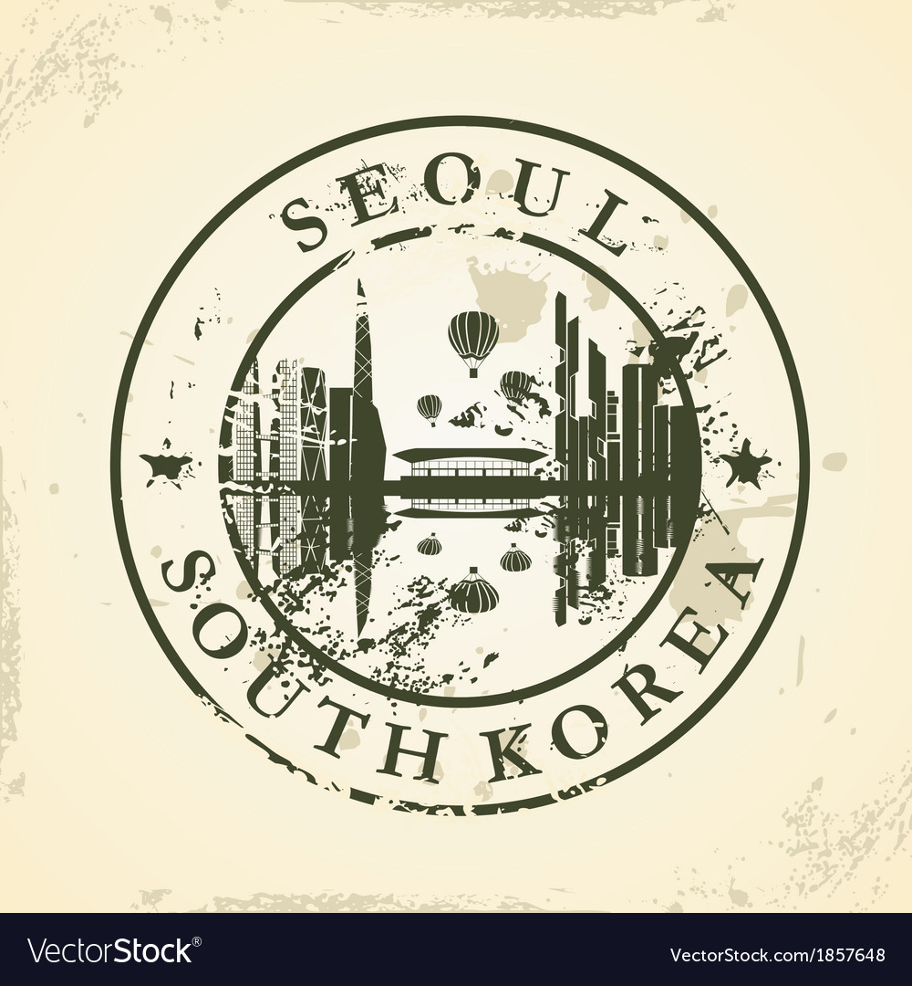 Grunge rubber stamp with seoul south korea vector | Price: 1 Credit (USD $1)