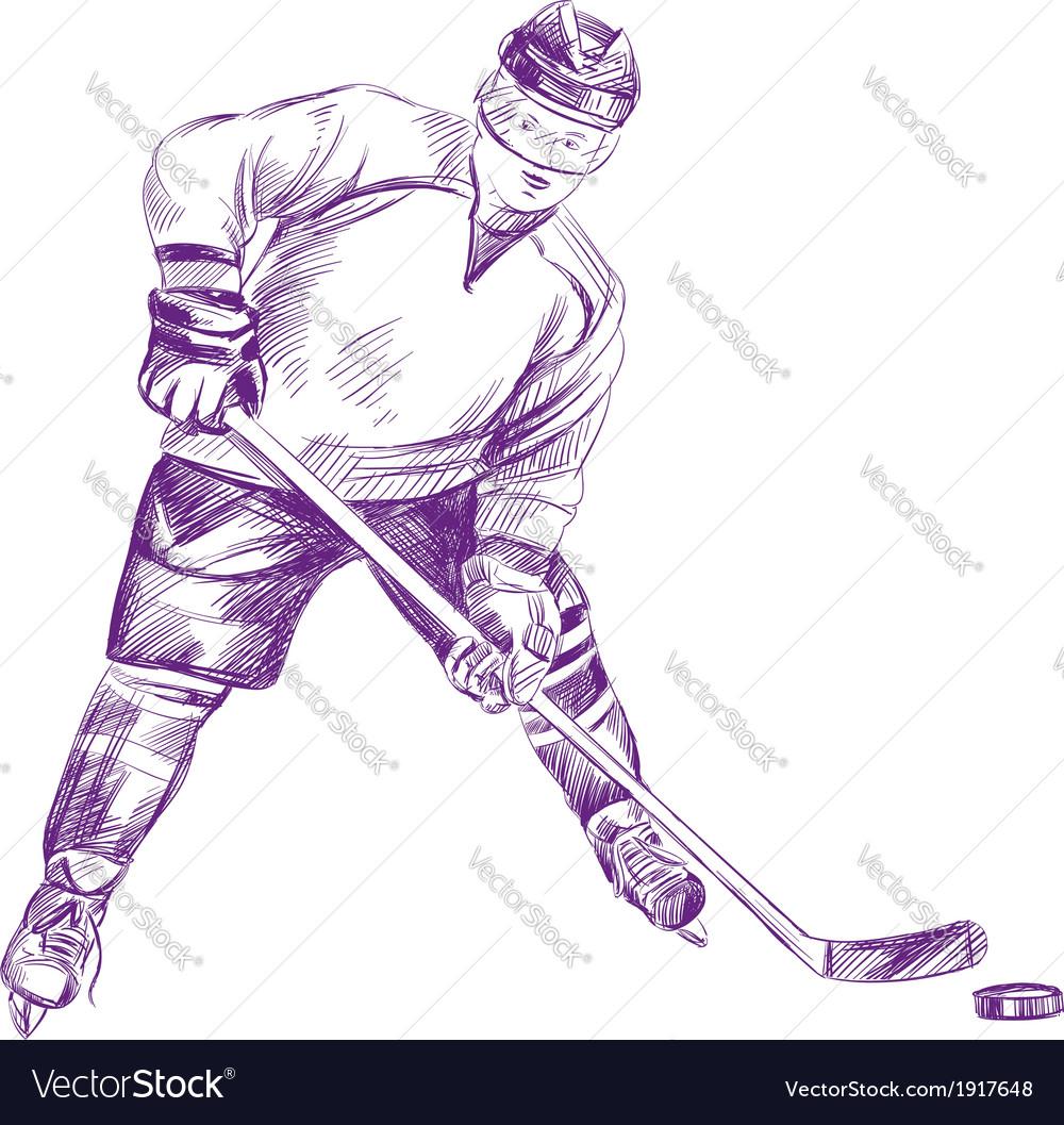 Hockey player hand drawn llustration vector   Price: 1 Credit (USD $1)