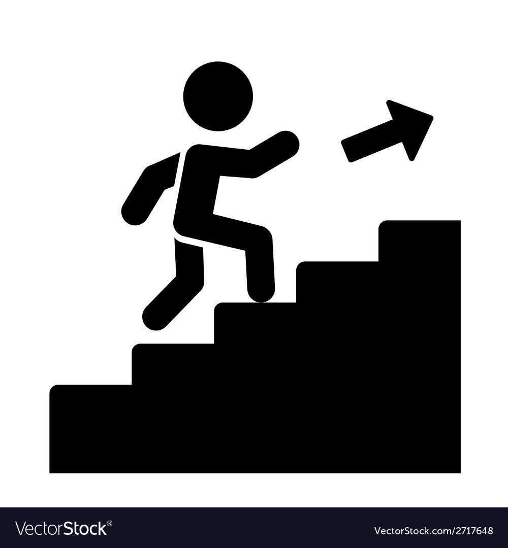 Man on stairs going up icon vector | Price: 1 Credit (USD $1)