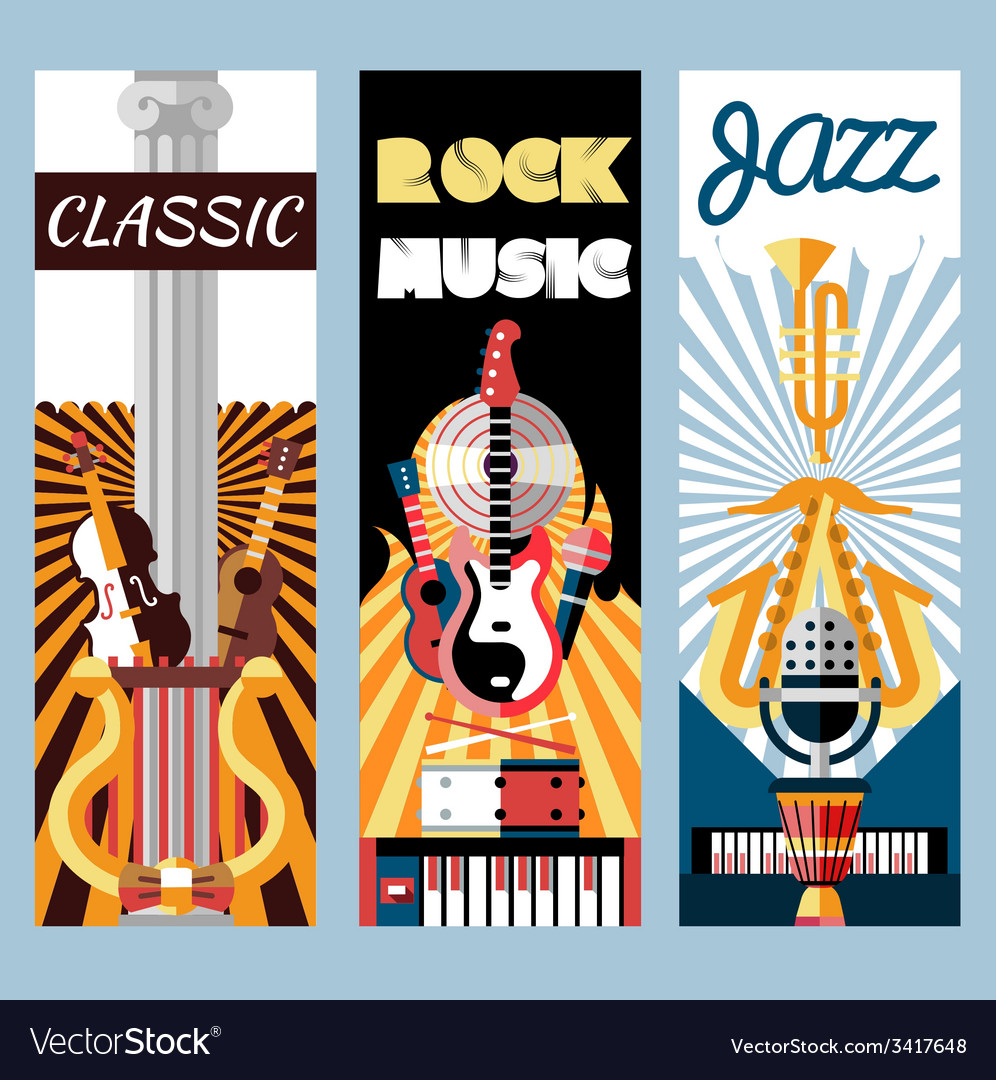 Music flat banners set vector | Price: 1 Credit (USD $1)