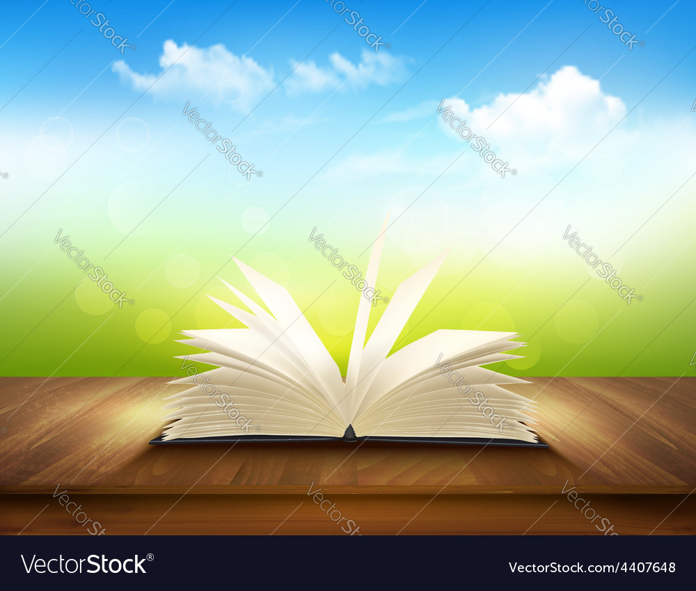 Open book on a wooden deck with green and blue vector | Price: 3 Credit (USD $3)
