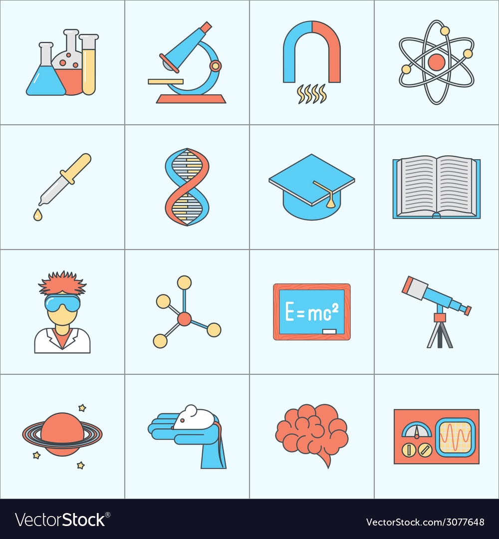 Science and research icon flat line vector | Price: 1 Credit (USD $1)