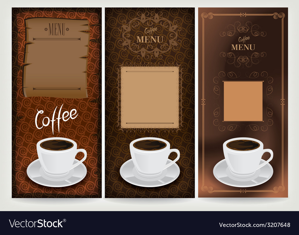 Three coffee design templates vector | Price: 1 Credit (USD $1)