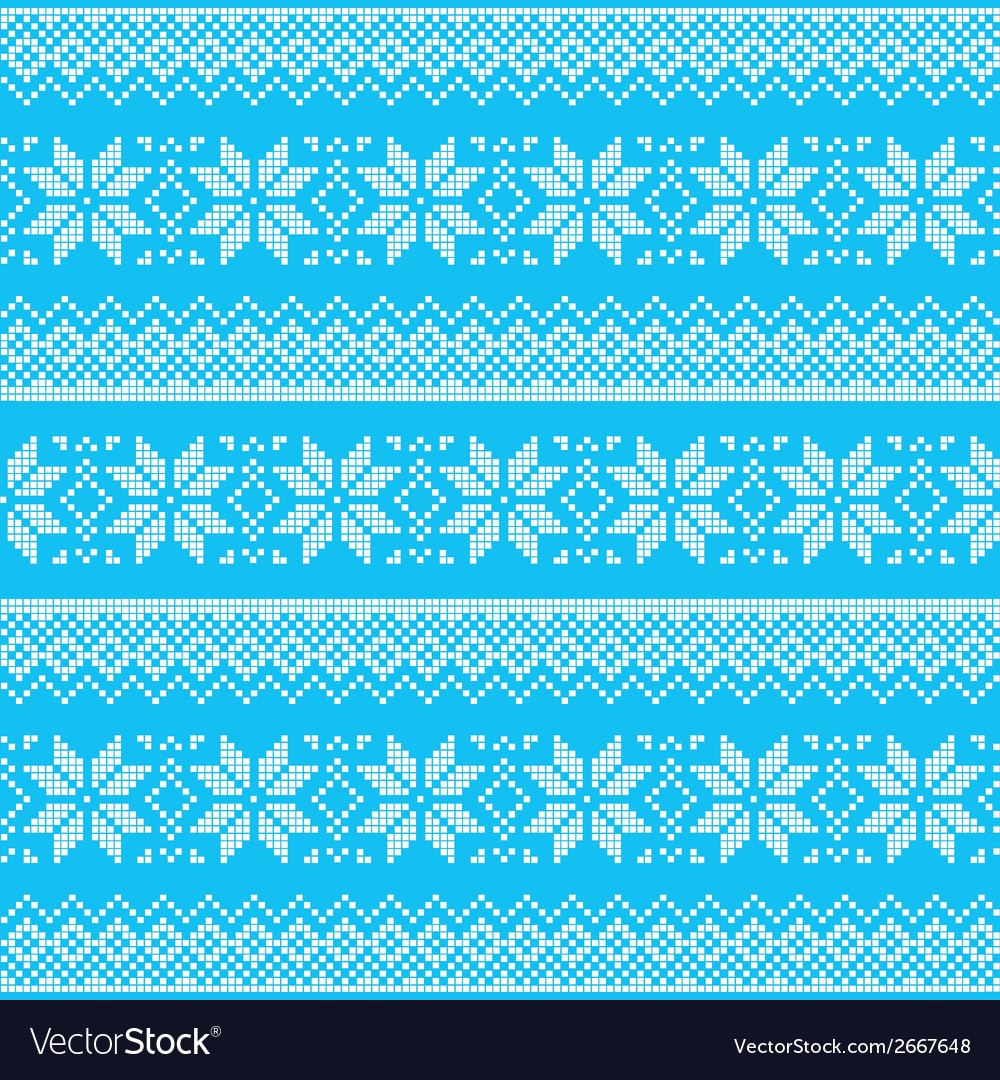 Winter christmas blue seamless pixelated pattern vector | Price: 1 Credit (USD $1)