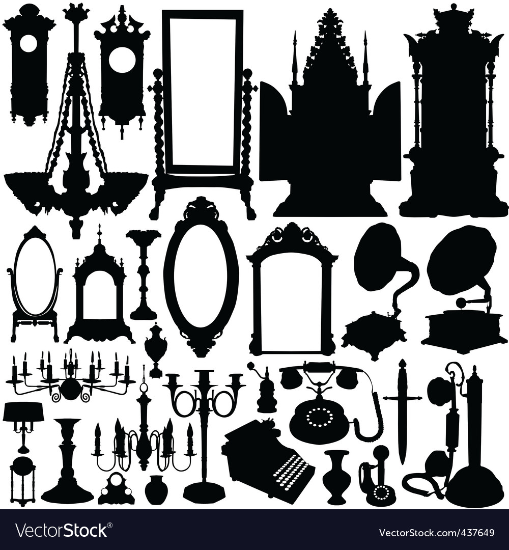 Antique furniture and objects vector | Price: 1 Credit (USD $1)