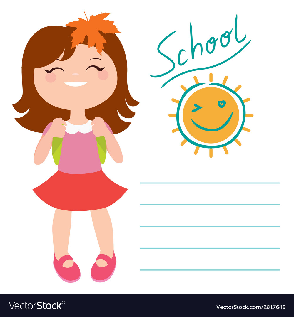Card with schoolgirl vector | Price: 1 Credit (USD $1)