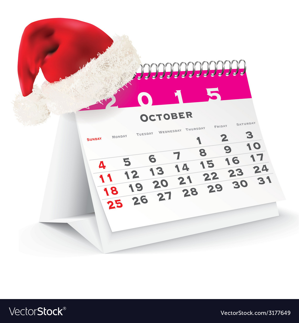 October 2015 desk calendar with christmas hat vector | Price: 1 Credit (USD $1)