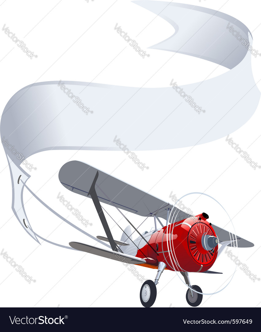 Retro airplane with banner vector | Price: 3 Credit (USD $3)