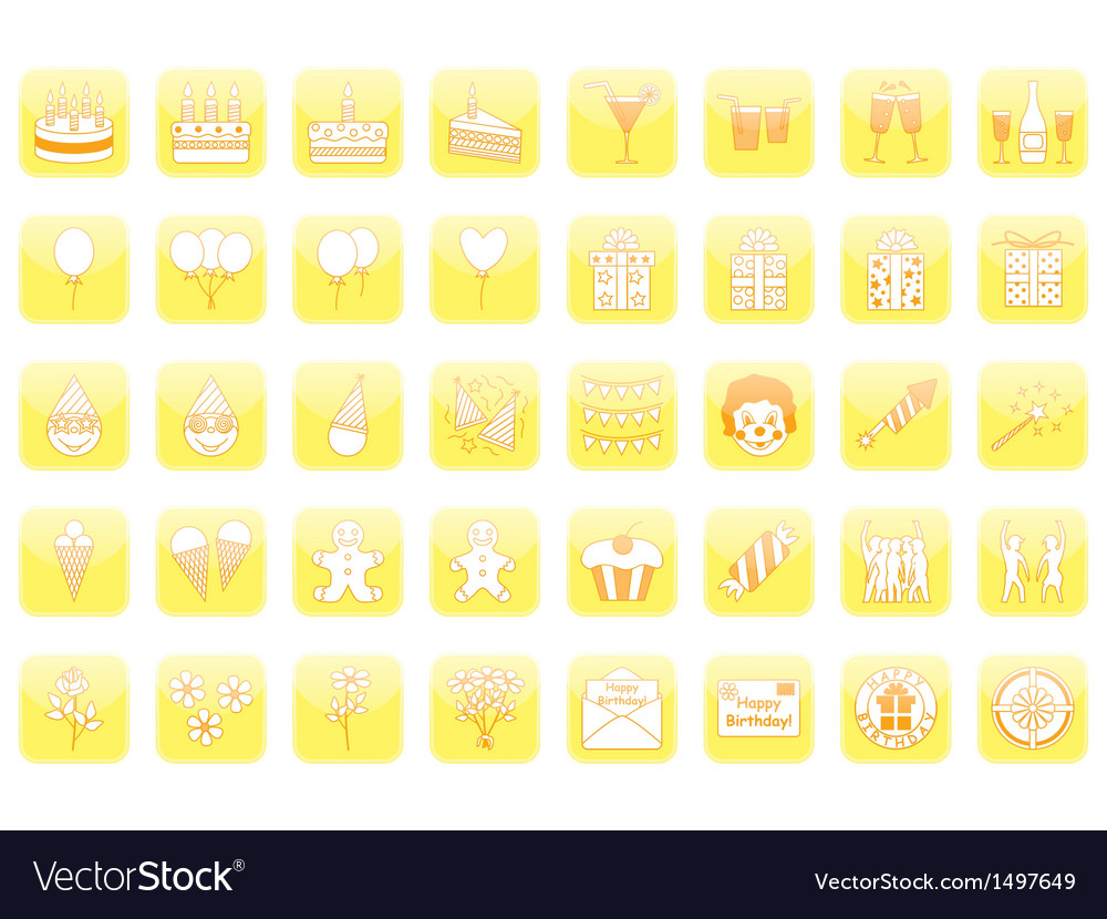 Set of birthday icons vector | Price: 1 Credit (USD $1)