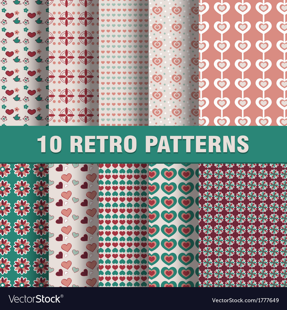 Set of retro patterns vector