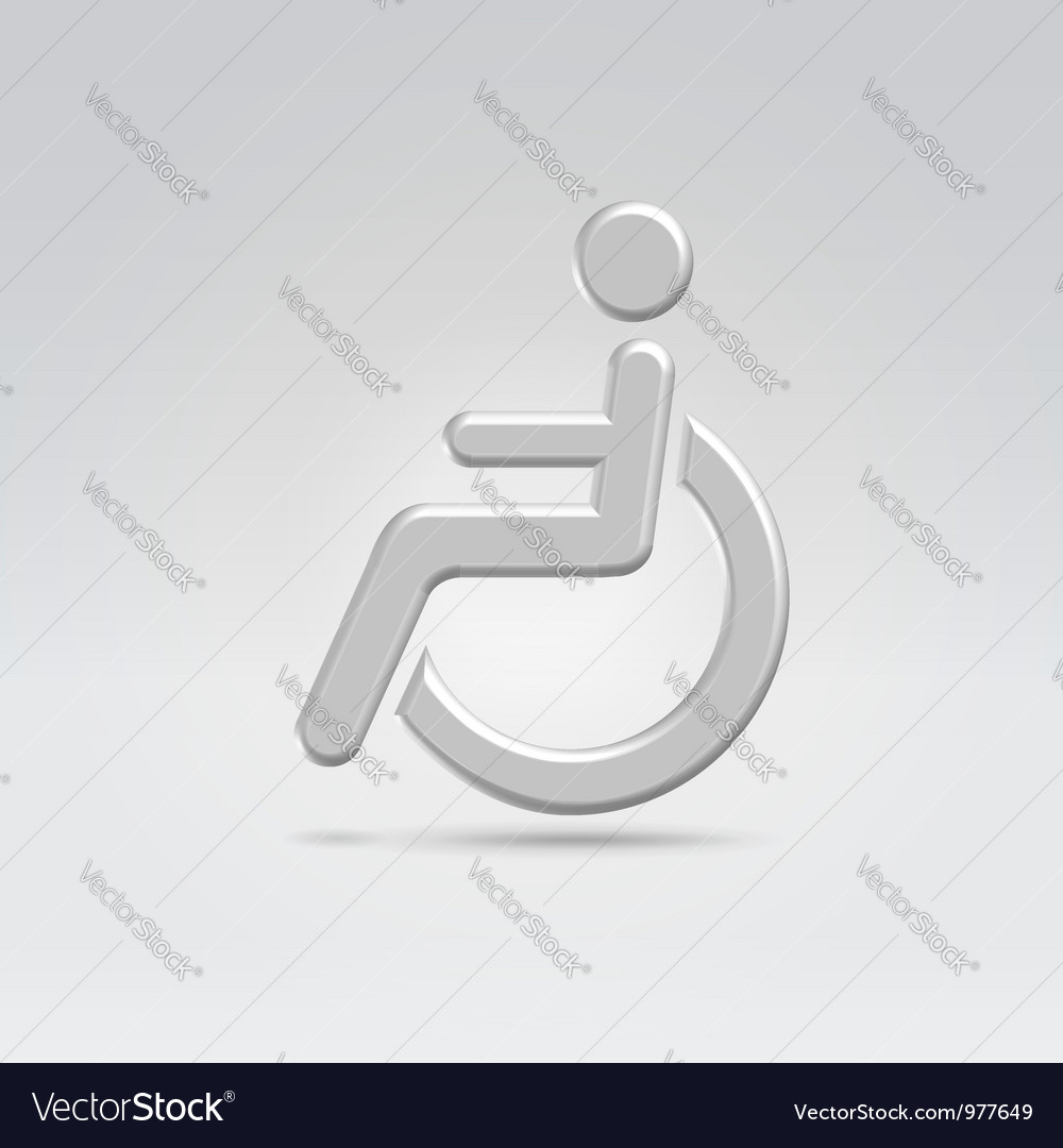 Silver wheelchair person icon vector | Price: 1 Credit (USD $1)