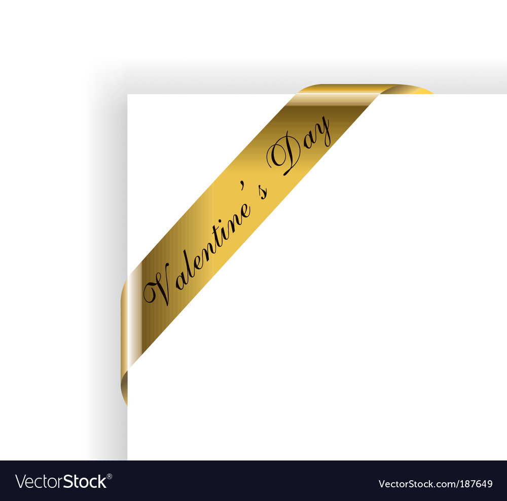 Valentines day gold ribbon vector | Price: 3 Credit (USD $3)
