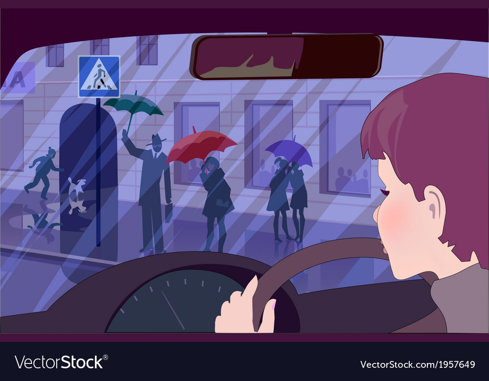 Young female driver watching people at crosswalk vector | Price: 1 Credit (USD $1)