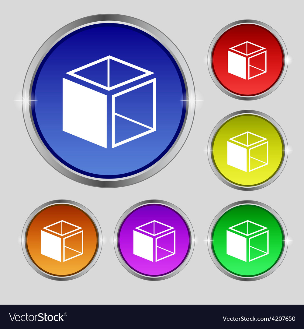 3d cube icon sign round symbol on bright colourful vector | Price: 1 Credit (USD $1)