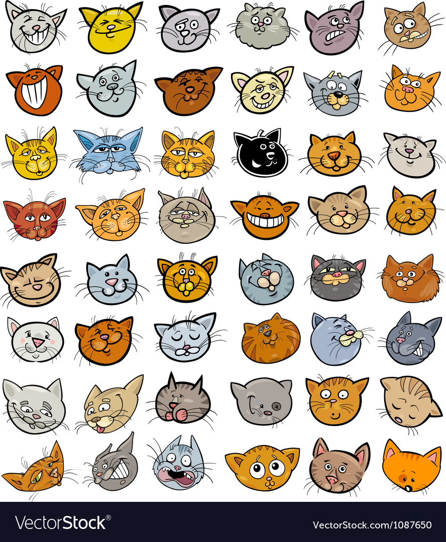 Cartoon funny cats heads big set vector | Price: 5 Credit (USD $5)