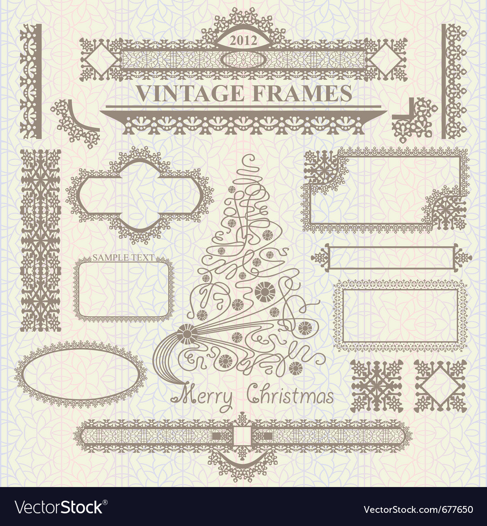 Christmas vintage elements set vector | Price: 1 Credit (USD $1)