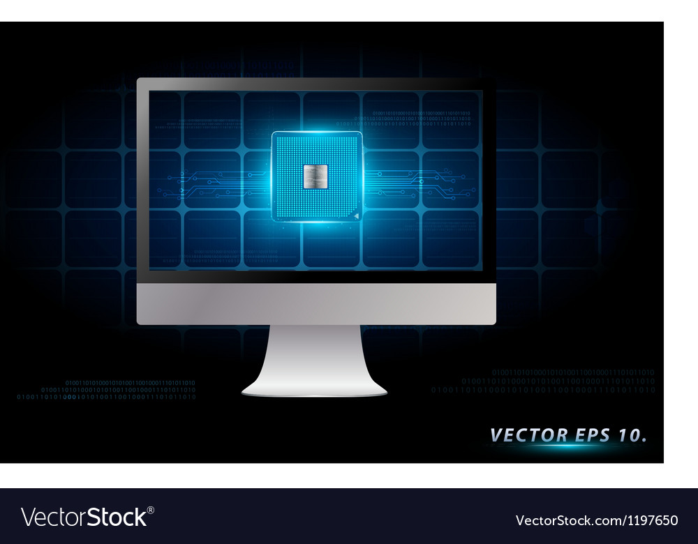Desktop computer with electronic circuit board vector | Price: 1 Credit (USD $1)