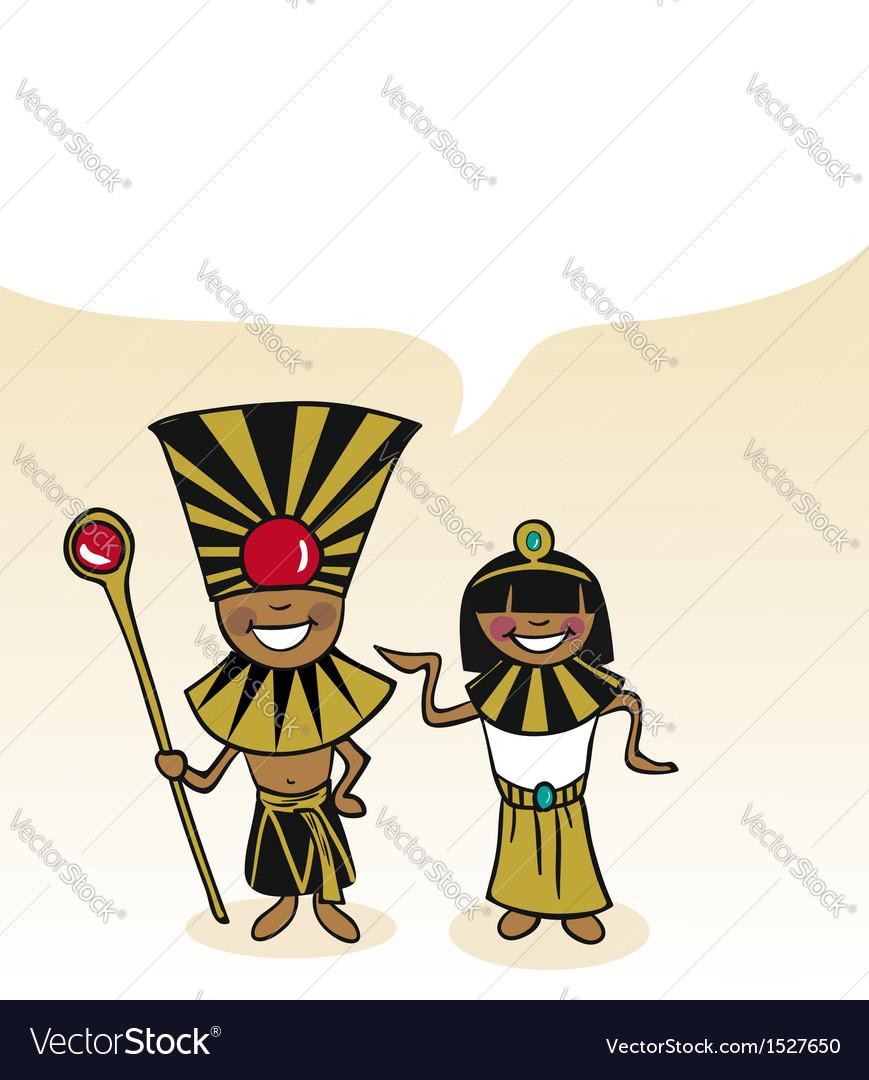 Egyptian cartoon couple bubble dialogue vector | Price: 1 Credit (USD $1)