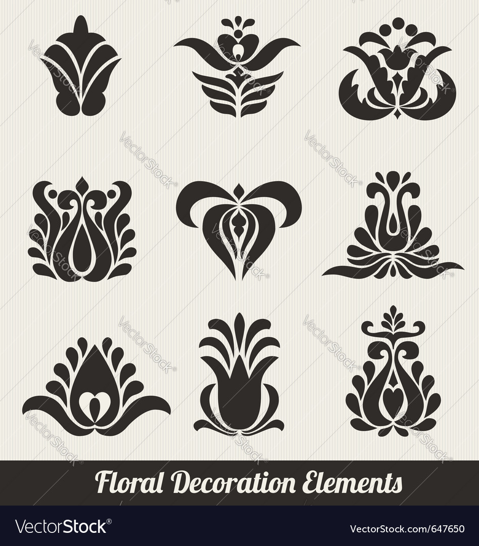 Floral decoration elements vector | Price: 1 Credit (USD $1)