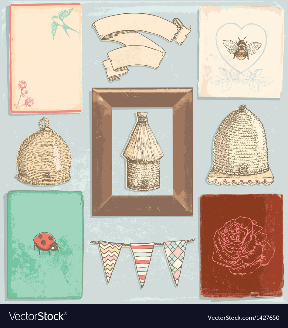 Hand drawn vintage garden elements set vector | Price: 3 Credit (USD $3)
