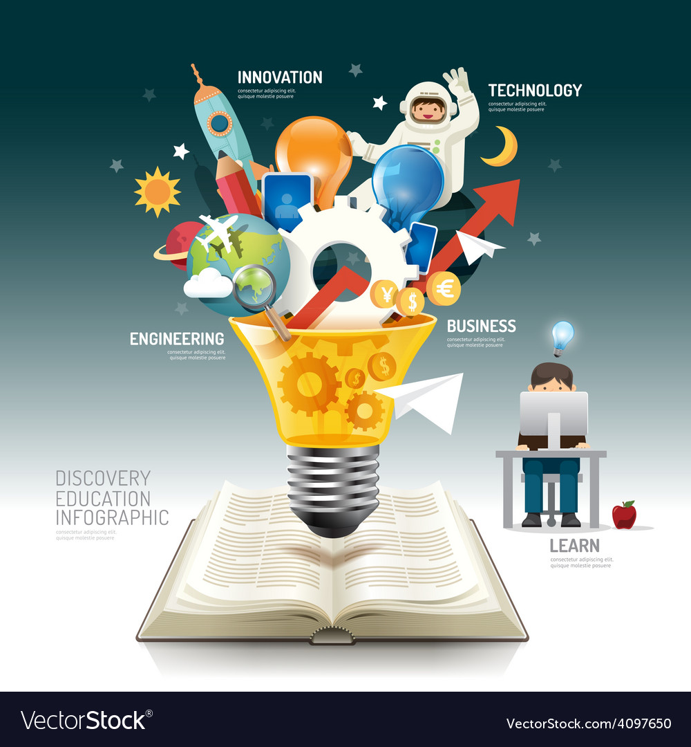 Open book infographic innovation idea light bulb vector | Price: 5 Credit (USD $5)