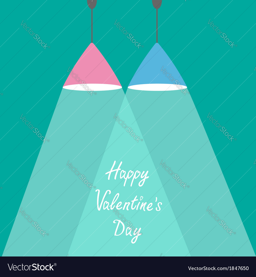 Pink and blue lamps with rays of light valentines vector | Price: 1 Credit (USD $1)