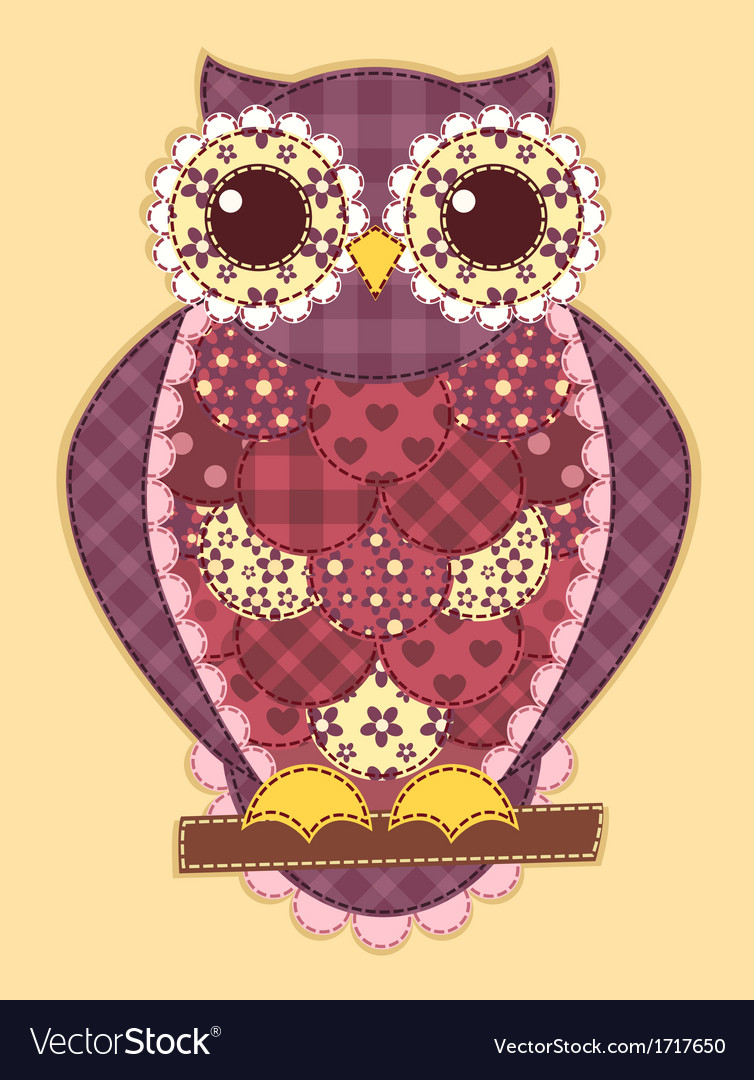 Purple patchwork owl vector | Price: 1 Credit (USD $1)