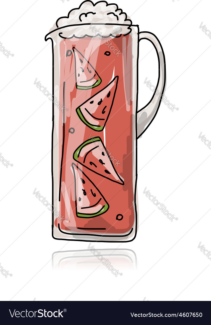 Watermelon cocktail in jug sketch for your design vector | Price: 1 Credit (USD $1)