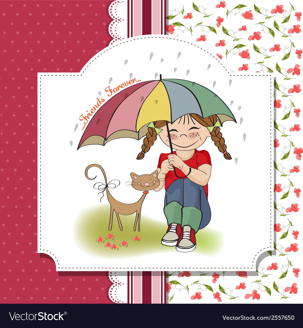 Young pretty girl and her cat friendship card vector | Price: 1 Credit (USD $1)