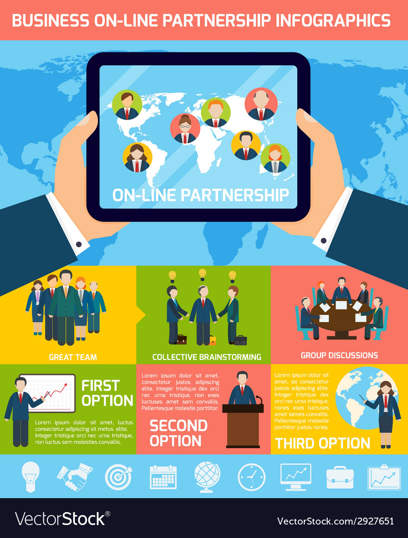 Business partnership infographics vector | Price: 1 Credit (USD $1)