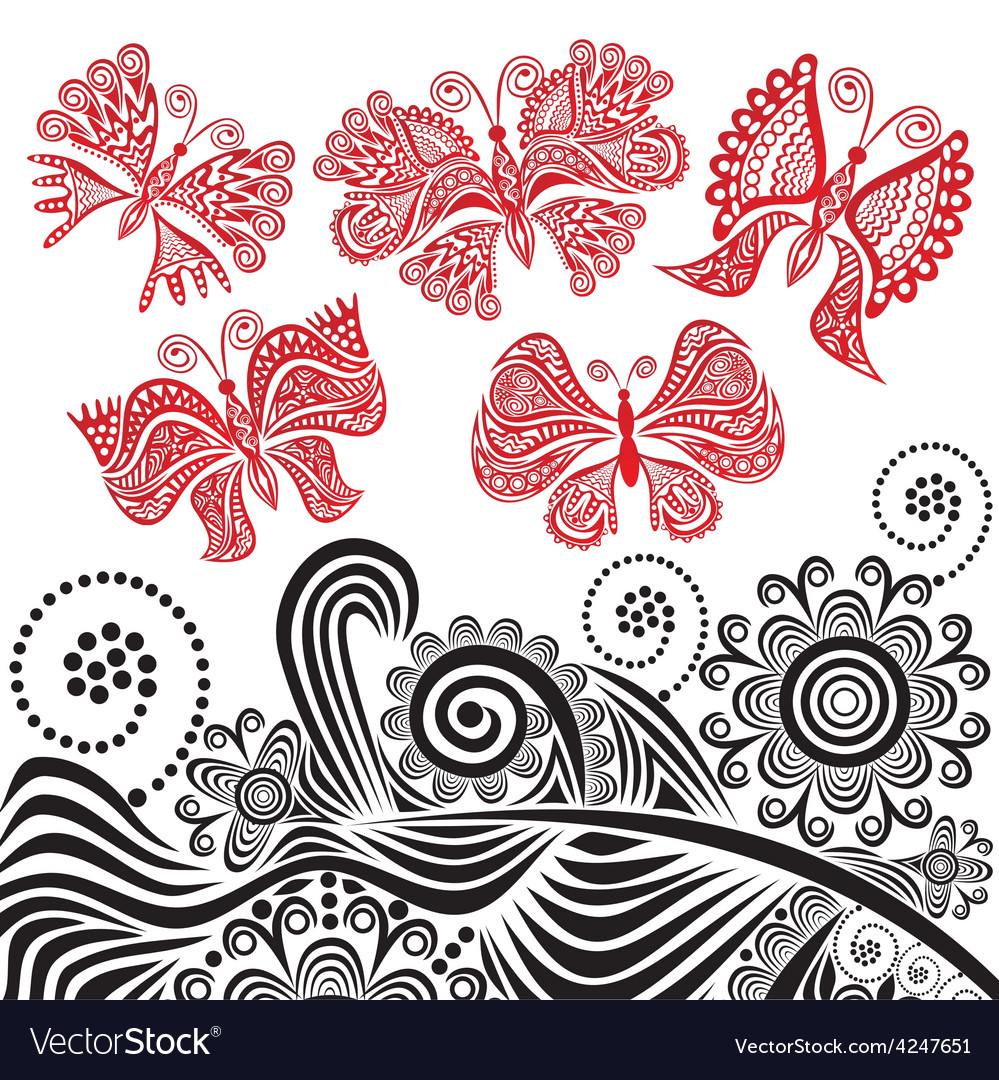 Butterflies and flowers vector | Price: 1 Credit (USD $1)