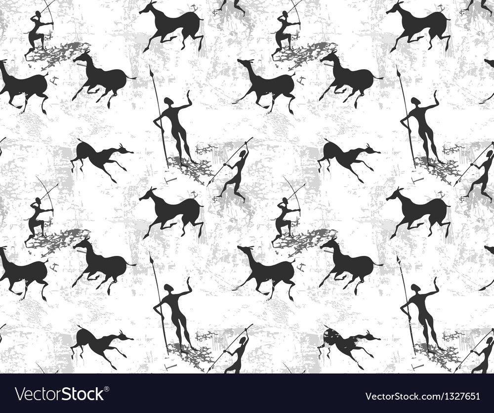 Cave painting seamless background texture vector | Price: 1 Credit (USD $1)