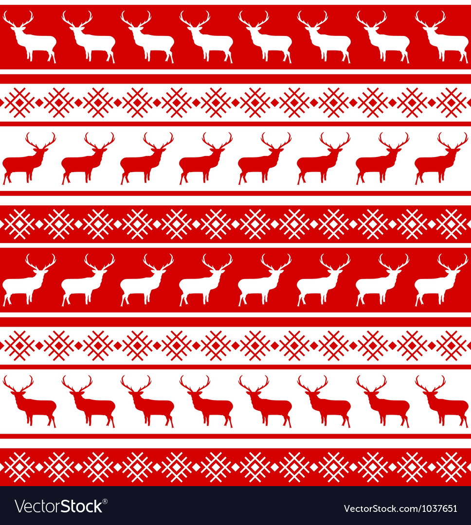 Christmas deer seamless pattern vector | Price: 1 Credit (USD $1)
