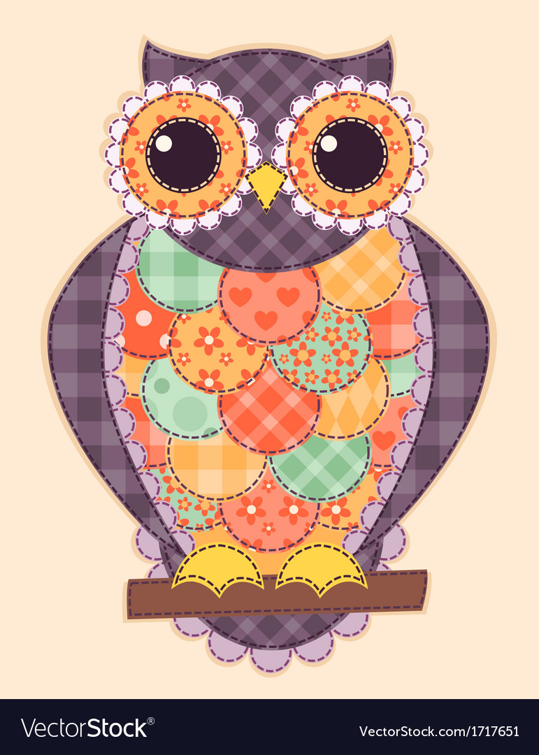 Colored patchwork owl vector | Price: 1 Credit (USD $1)