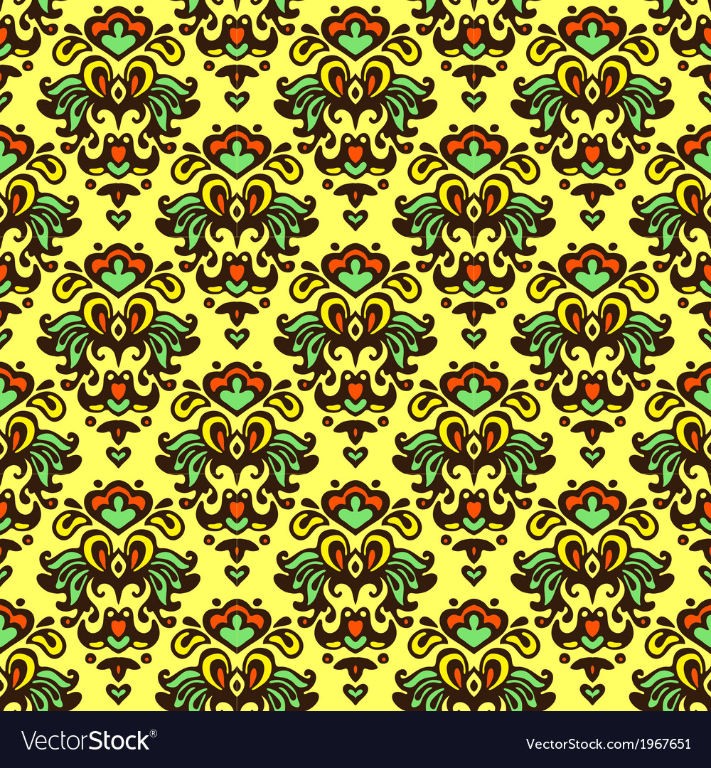 Flower pattern damask summer vector | Price: 1 Credit (USD $1)