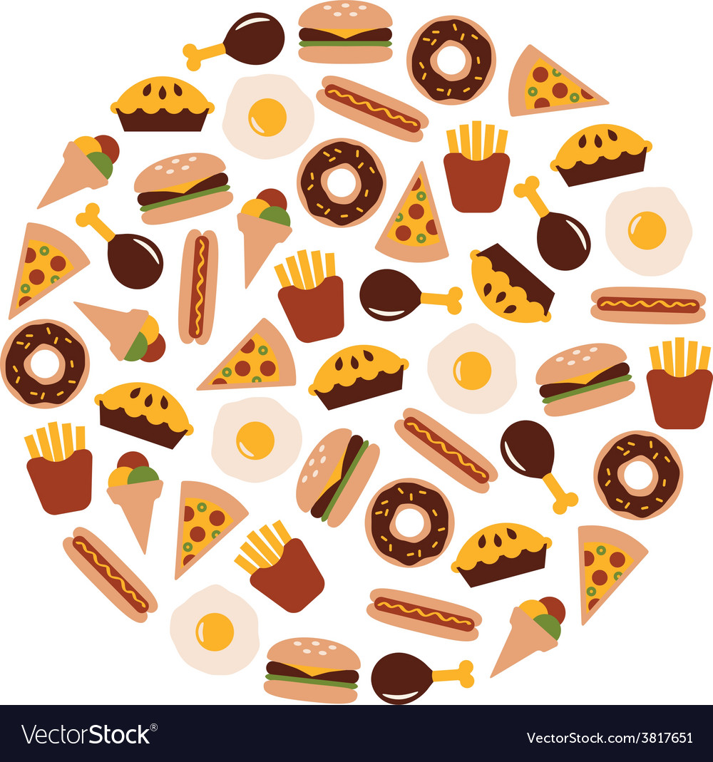 Food flat icons in circle vector   Price: 1 Credit (USD $1)