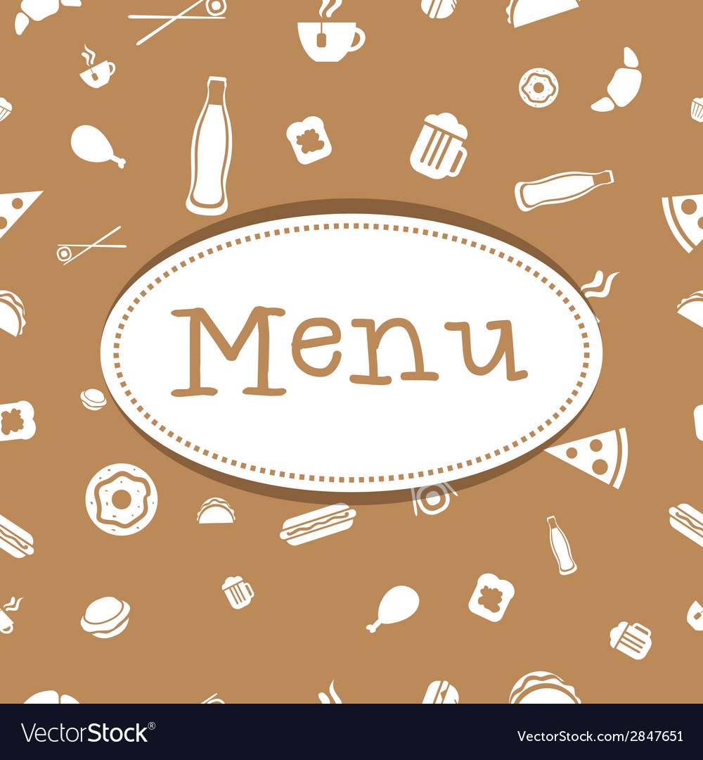 Menu cover design with food seamless pattern vector | Price: 1 Credit (USD $1)