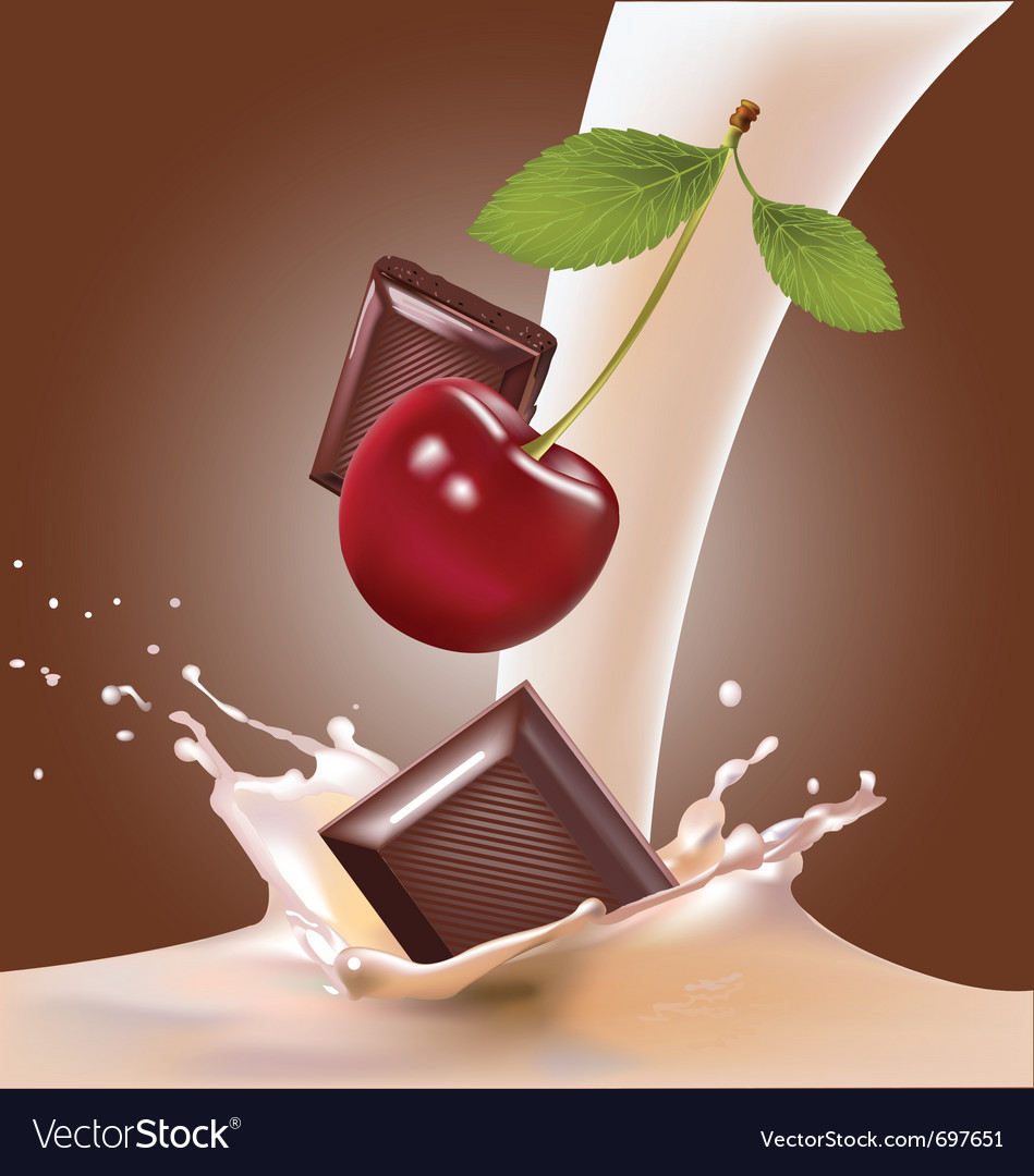 Milk and cherries chocolate vector | Price: 3 Credit (USD $3)
