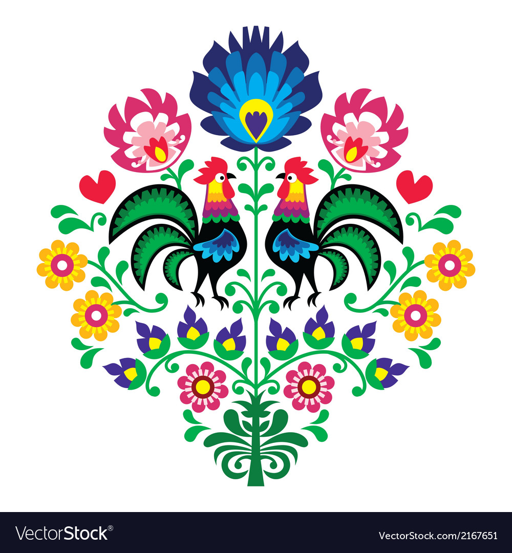 Polish folk embroidery with roosters pattern vector | Price: 1 Credit (USD $1)