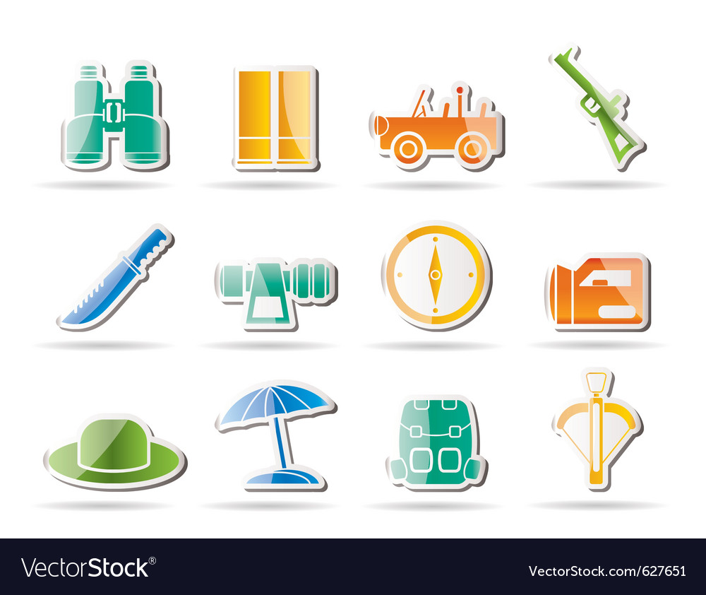 Safari and holiday icons vector | Price: 1 Credit (USD $1)